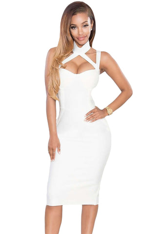 White High Neck Hollow-Out Bandage Dress LAVELIQ