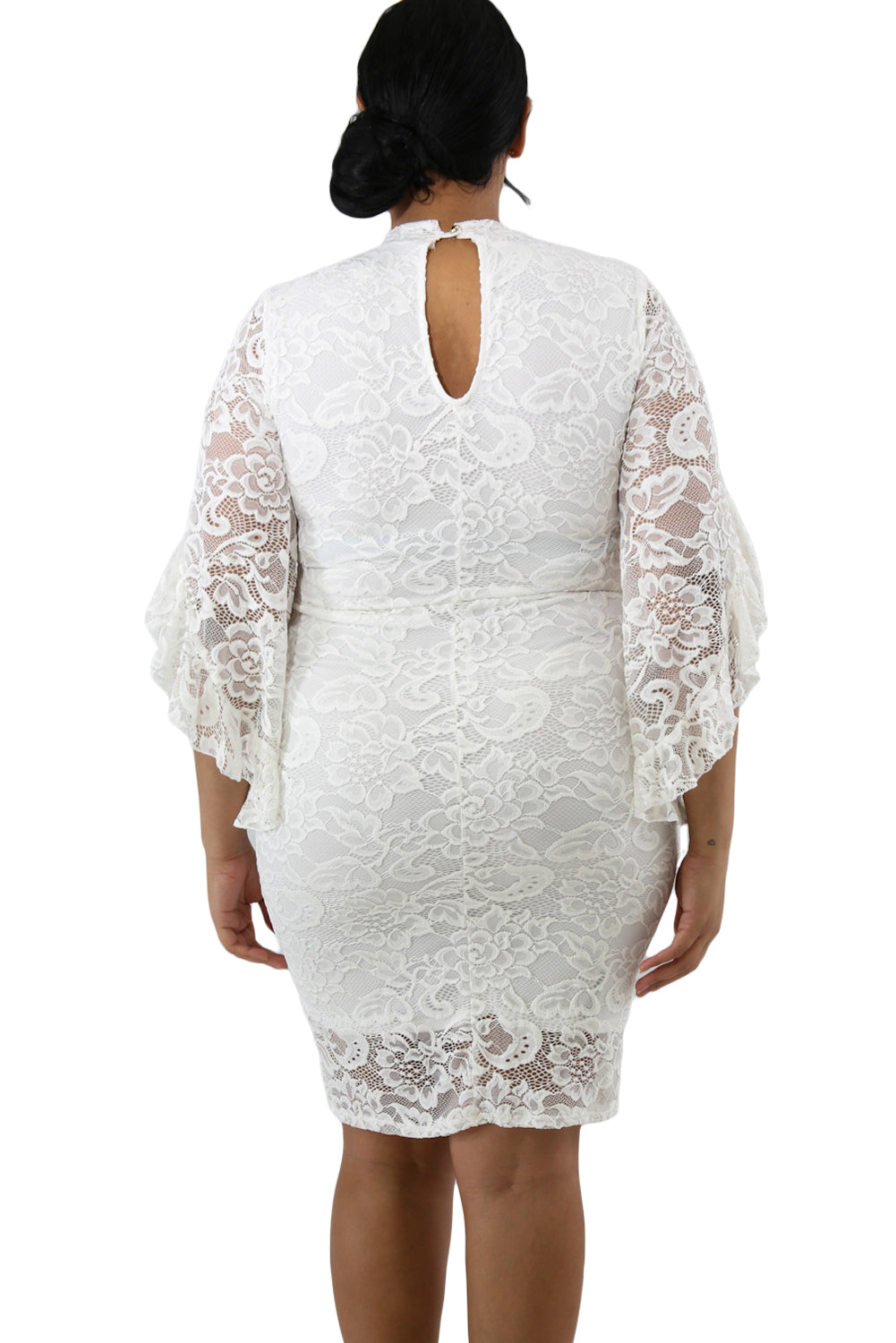 White Lace Flare Bells Bodycon Plus Size Dress LAVELIQ - Laveliqus