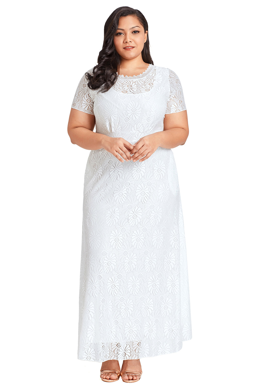 White Plus Size Lace Party Gown LAVELIQ - Laveliqus