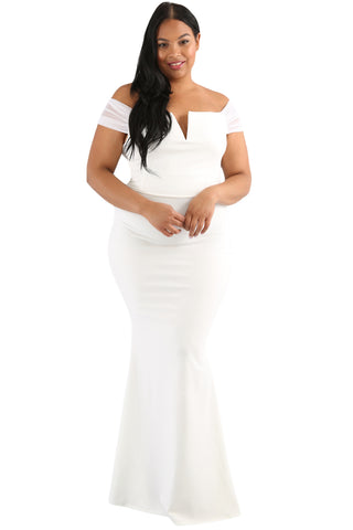 Plus Size White Long Maxi Dress