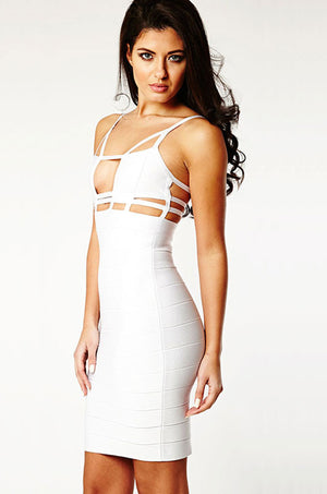 White Tightfitting Hollow Out Knee Length Bandage Dress LAVELIQ - Laveliqus