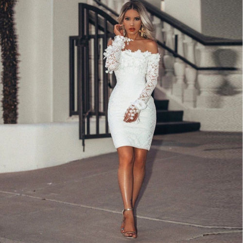 2018 Chic Off Shoulder Sexy Women Long Sleeve Skinny Solid Color Lace Bodycon Girls Dress Mini Club Party Dress vestidos