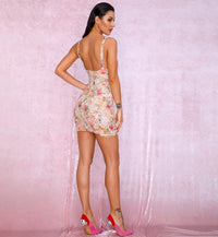 Sexy Pink Bow Cut Out Flower Sequin Bodycon Party Mini Dress LM90082