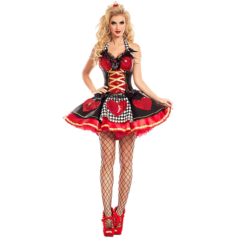 Alice In Wonderland Costume Women Sexy Queen Of Hearts Costume Red Queen Cosplay Costume for Halloween Female Party Fancy Dress