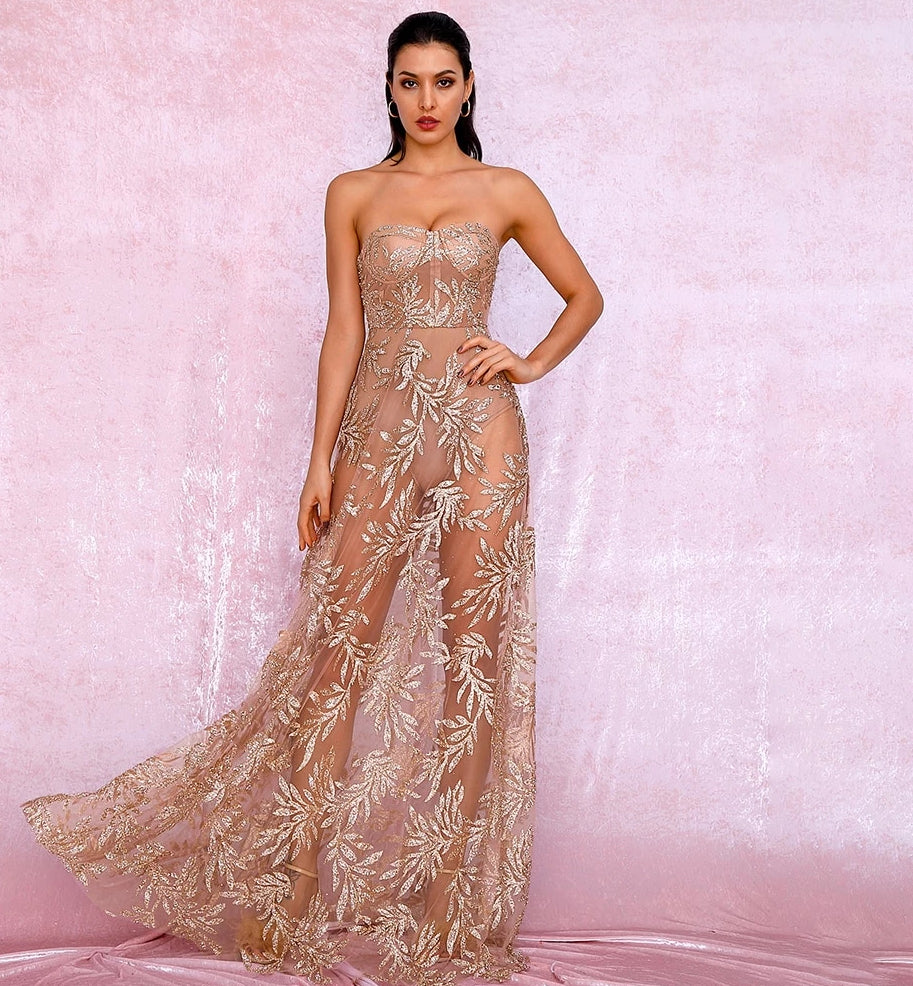 Sexy Rose Gold Off-Shoulder Tube Top Leaf Pattern Glitter Material  Puff Maxi Dress LM81971-1 Autumn/Winter