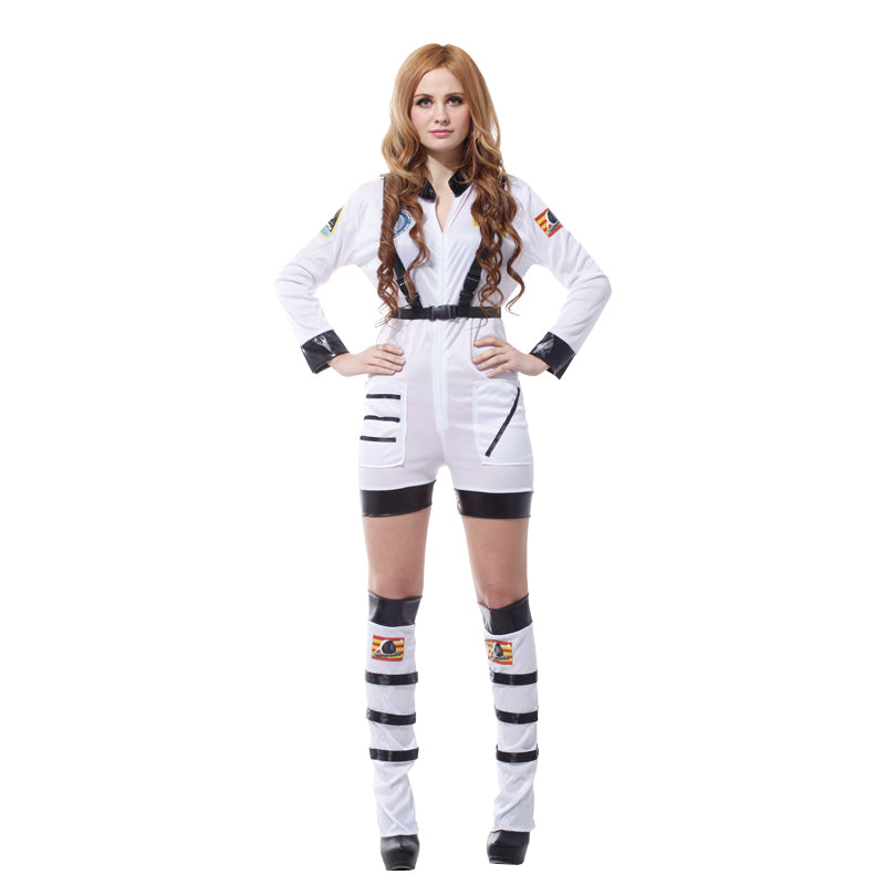 Adult Women White Sexy Astronaut Costumes Space Suit Cosmic Cosmonaut Cosplay for Halloween Purim Carnival New Year Masquerade
