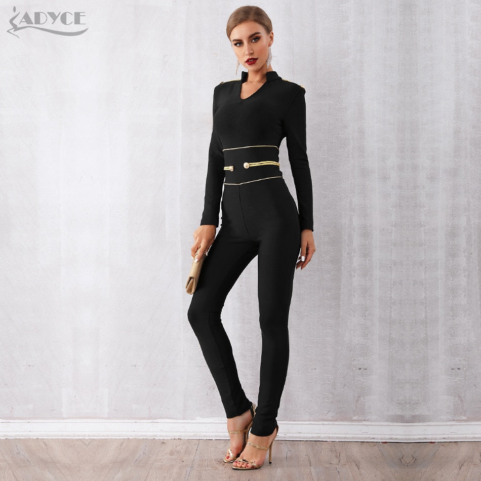 ADYCE New Winter Runway Bandage Jumpsuit for Women 2019 Rompers Elegant V Neck Long Sleeve Black Club Jumpsuit Rompers Vestidos