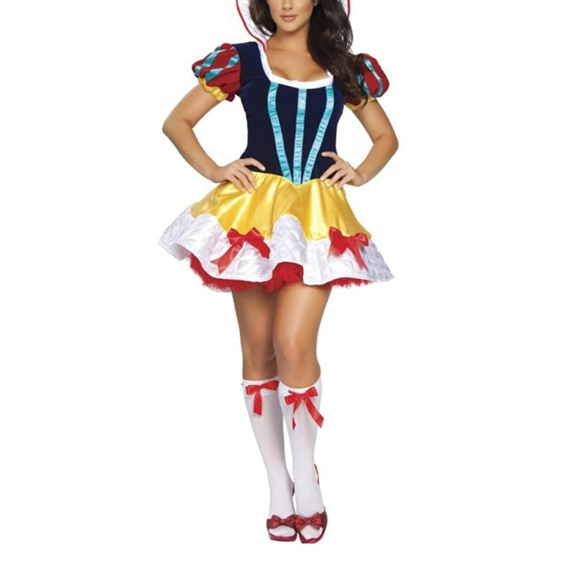 VASHEJIANG Adult Fairy Tale Snow White Costume Princess Snow White Role Playing Uniform Sexy Halloween Costumes for Women