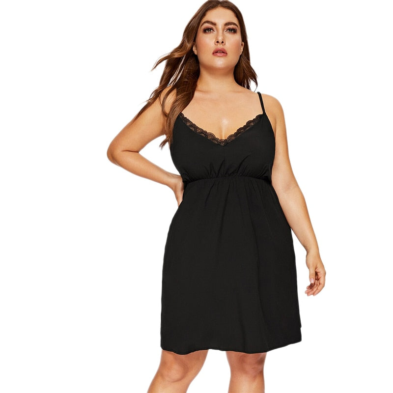 Plus Size Black Contrast Lace Night Dress Women 2019 Sexy Summer Sleeveless Sleepwear Ladies Solid V Neck Loungewear