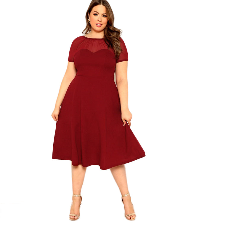 Plus Size Burgundy V Back Mesh Sweetheart Fit And Flare Party Dress Women 2019 Short Sleeve Elegant Ladies Dresses