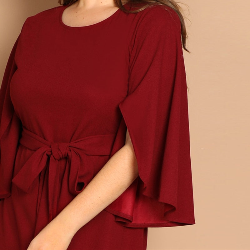 Plus Size Burgundy Solid Split Sleeve Tie Waist Bodycon Elegant Dress Women Clothes 2019 Spring High Waist Casual Dress