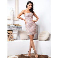 Sexy White Strapless Preparation Material Cut Out Bodycon Party Dress LM81688