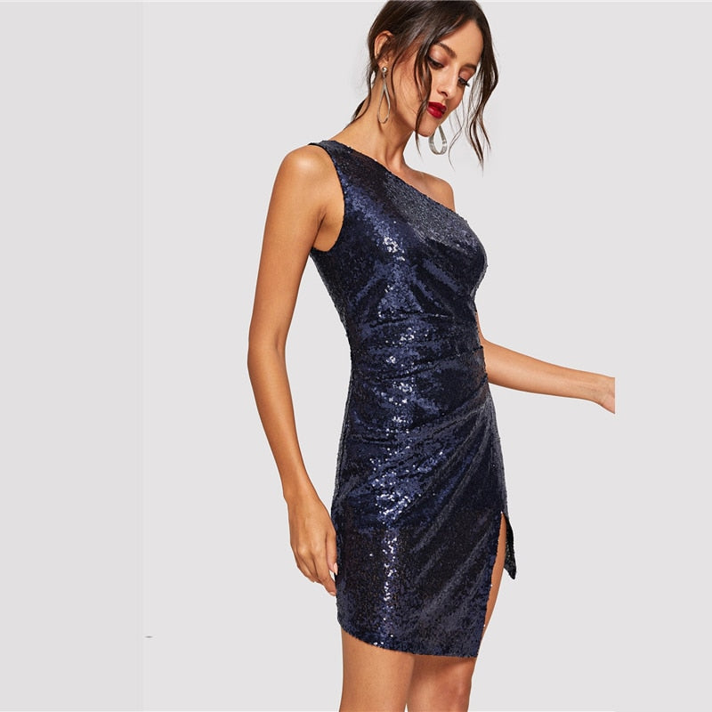 Blue Solid One Shoulder Sexy Winter Sequin Dress Women 2018 Autumn Bodycon Night Club Party Dress Evening Short Dresses