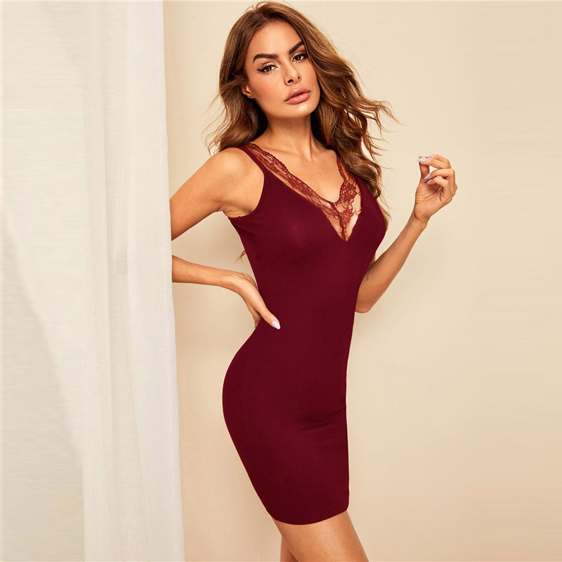 Burgundy Lace Insert V-back Fitted Bodycon Sexy Night Dress 2019 Summer Sleeveless Sleepwear Solid Nightgowns