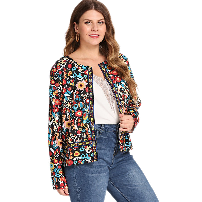 Plus Size Contrast Tape Open Front Botanical Boho Coat Women 2019 Spring Long Sleeve Floral Print Outerwear Lady Jacket