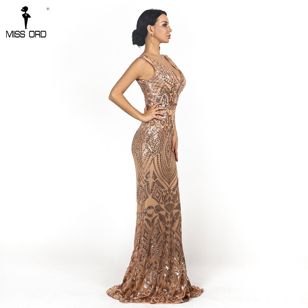 Sexy  Women  V-Neck Long Sleeveless Sequin Dress Retro geometry Backless Maxi Elegant Dress FT18726-1