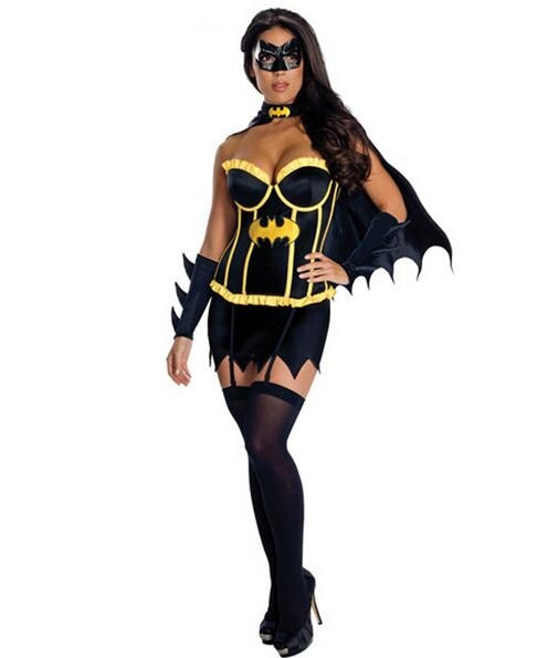 Batman Costume For Women Girls Halloween Sexy Dress  With Cape Mask  Carnival Party Female Fancy Black Cool Style Cosplay Suit