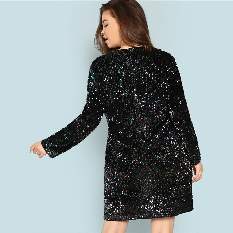 Plus Size Black V Neck Sequin Girls Sexy Dress Women 2018 Autumn Long Sleeve Party Dress Elegant Evening Mini Dresses