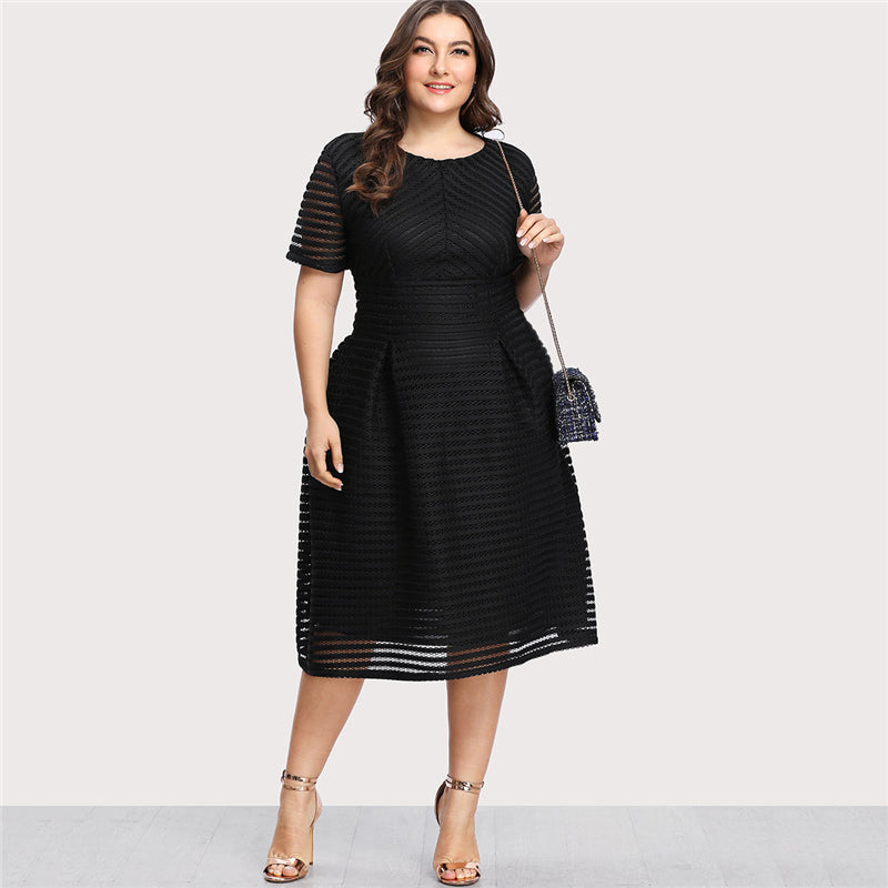 Plus Size Black Pleated High Waist Striped Mesh Sheer Sexy Dress Women Autumn Party Dress Elegant Long Dresses