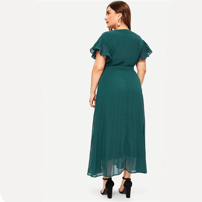 Plus Size Green V Neck Pleated Belted Elegant Maxi Dress Women 2019 Summer Fit and Flare A Line Office Ladies Dresses