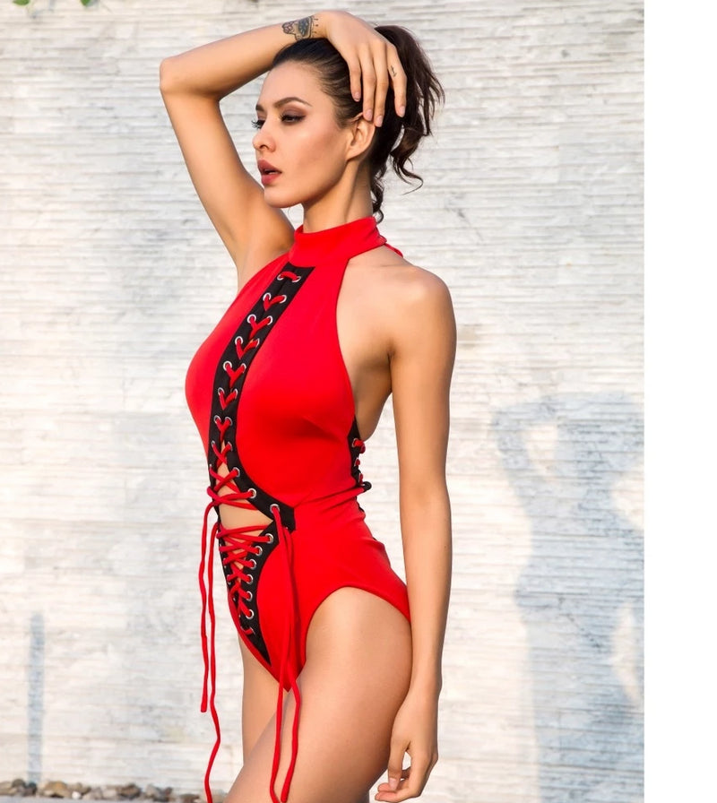 . Red Cut Out Golden Metal  Cross Bodysuits  LM0779
