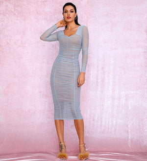 Sexy Square Collar Sky Blue Elastic Mesh Slim Long Sleeve Over-The-Knee Party Dress (With Lining) LM81941-1