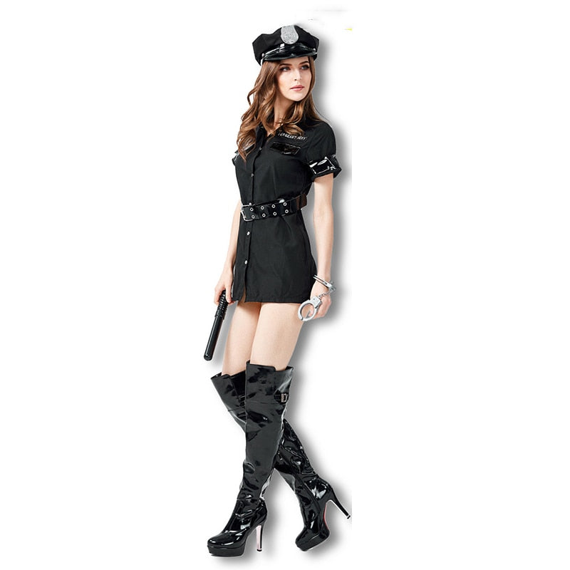 Sexy Police Woman Costume Dress Adult Women Halloween Classic Role Playing Policewoman Cosplay Carnival Fancy Dress Outfit