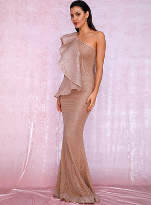 Sexy One Shoulder Ruffled Stitch Rose Gold Glitter Material Bodycon Party Maxi Dress LM81886 Autumn/Winter
