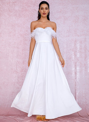 Sexy White Feathers A-Shape  Party Maxi Dress LM81749
