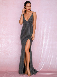 Sexy Silver Deep V-Neck Open Back Fishtail Style Bodycon Party Reflective Sequins Split Maxi Dress LM81222-2Split