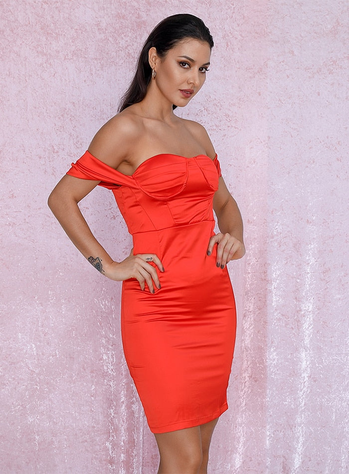 Sexy Tube Top Red Bodycon Party Dress LM81863