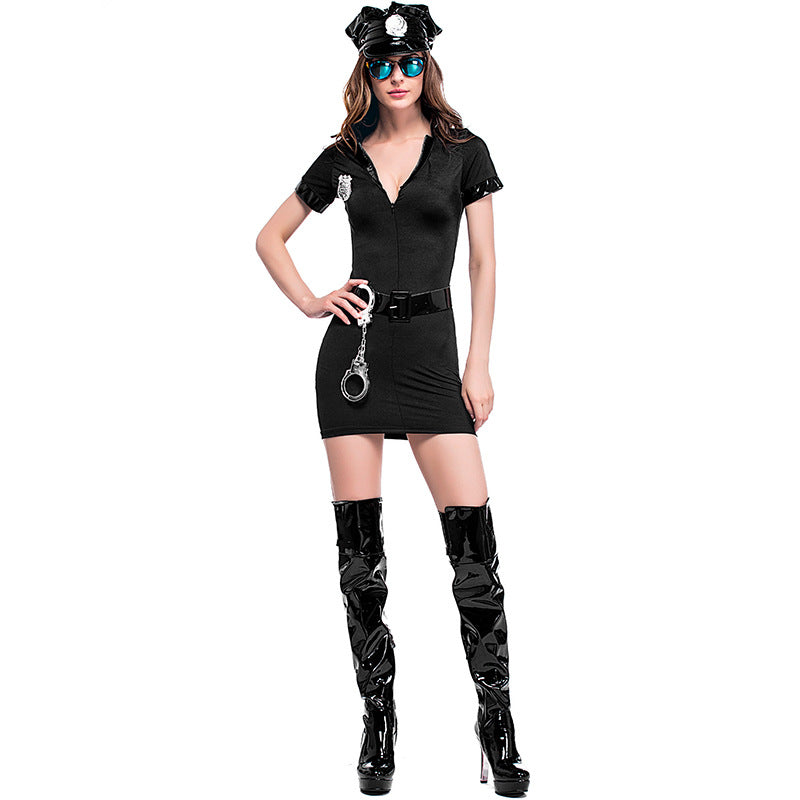 VASHEJIANG Sexy Cop Outfit Woman Police Costume Halloween Sexy Erotic Lingerie Policeman Costumes for Adult Uniform