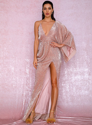 Sexy Rose Gold V-Neck Single Sleeve Sequins Split Party Maxi Dress Autumn/Winter