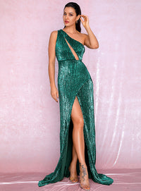 Sexy One Shoulder Cut Out Green Cross Split Sequin Bodycon Maxi Dress LM81952 Autumn/Winter