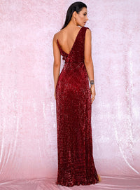 Sexy Deep Red Deep V-Neck Whit Split Sequins Party Maxi Dress LM81849 Autumn/Winter
