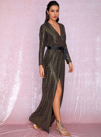 Sexy Deep V-Neck Gold Cross Fit Long Sleeve Composite Sequins Long Dress LM81929 Autumn/Winter