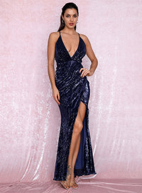 Sexy NAVY Open Back Cross Split Sequins Party Maxi Dress LM81876 NAVY Autumn/Winter