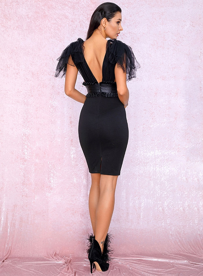 Sexy Black Bandage V-Neck Mesh And PU Decoration Bodycon Party Dress LM81919