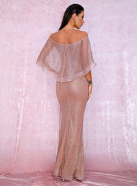 Sexy Rose Gold Cloak Style Glitter Glued Material Bodycon Party Maxi Dress LM81883 Autumn/Winter
