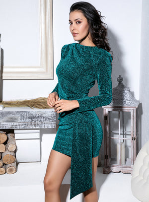 Sexy Emerald Green Round Neck Slim Fit Ribbon Long Sleeve Glow Party Dress LM81801 Autumn/Winter