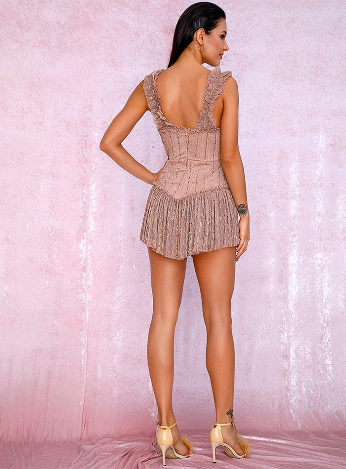 Nude Tube Top Sling Compound Sequin Material Slinky Ruffled Party Playsuit LM81256A