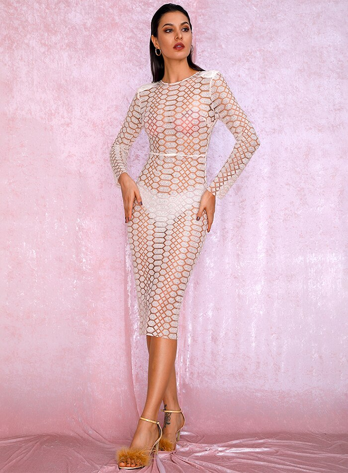 Sexy Beige Perspective Mesh glitter gluer Bead Material Long Sleeve Party Dress Autumn/Winter