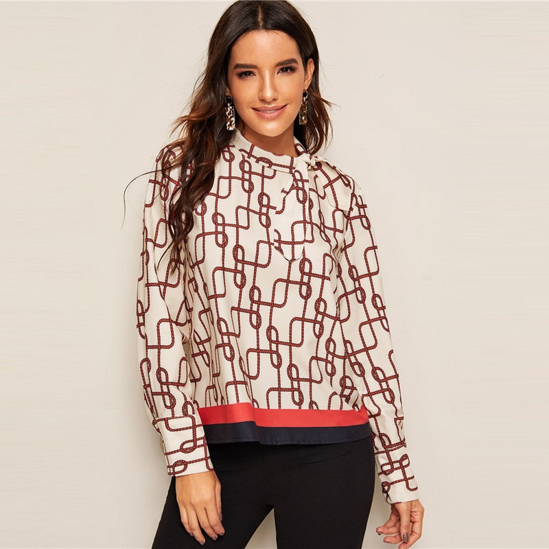Graphic Print Tie Neck Button Back Blouse Women 2019 Autumn Stand Collar Long Sleeve Tops Casual Elegant Ladies Blouse
