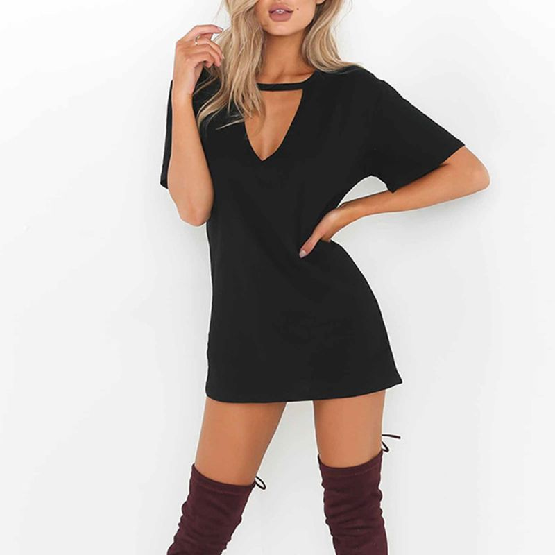 Womens Short Sleeve Sexy Triangle Hollow Halter T-Shirt Dress Solid Color Deep V-Neck Mini Long Tunic Tops Loose Pullover Blouse