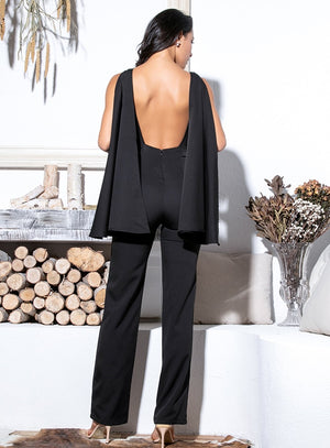 Sexy Black Open Back High Waist Fit Jumpsuit LM81359