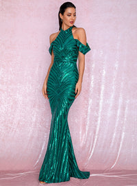 Green Stand Collar Open Back Drop Shoulder  Geometric Sequin Bodycon Party Maxi Dress LM81945 GREEN Autumn/Winter