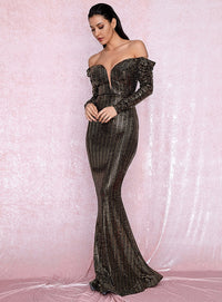 Sexy Open Shoulder Gold Sequins Composite Bubble Long Sleeve Bodycon Party Maxi Dress LM81926 Autumn/Winter