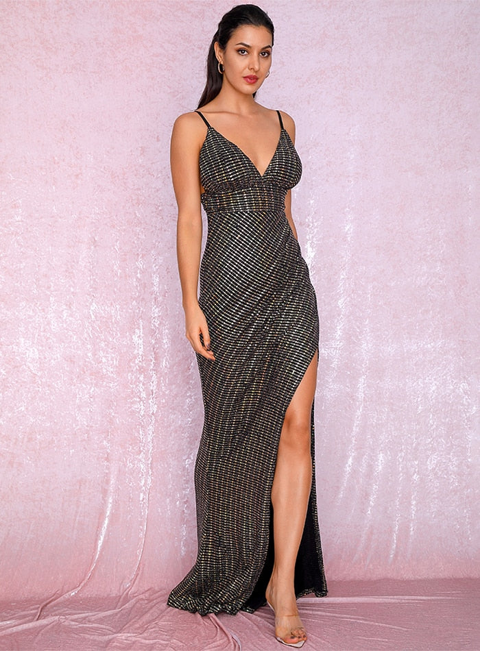 Sexy V-Neck Open Back Split Ironing Material Party Long Dress LM81887