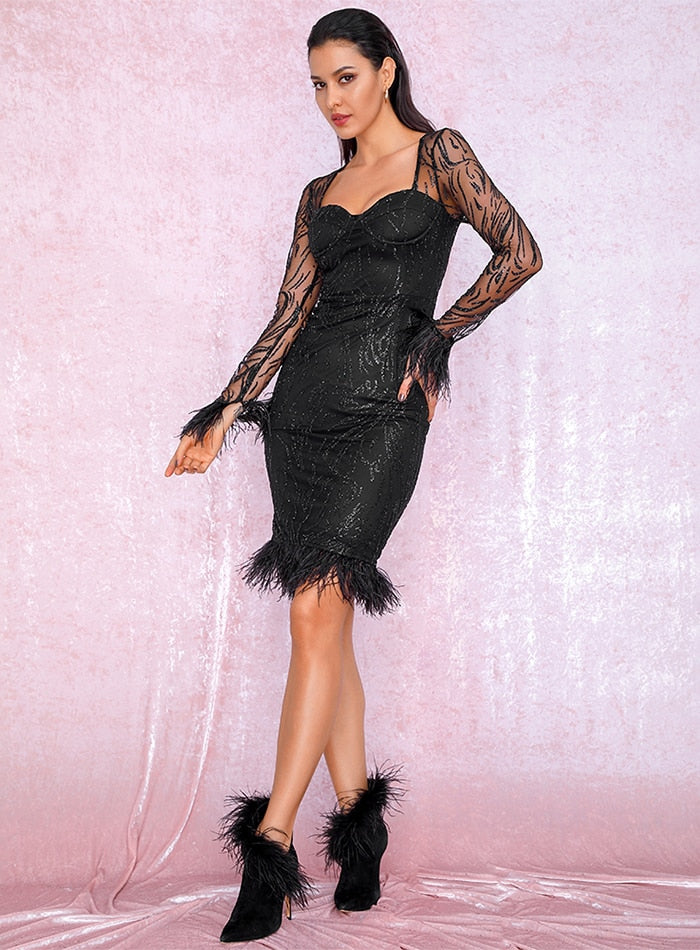 Sexy Black Tube Top Slim Fit Feathers glitter glued Material Party Dress LM81788 Autumn/Winter