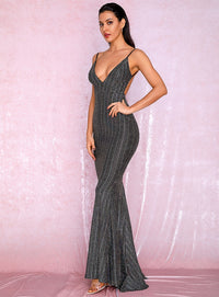 Sexy Deep V-Neck Open Back Fishtail Style Bodycon Party Reflective Sequins Maxi Dress LM81222-2 SILVER